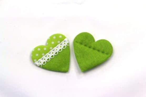 Filzherz mit Rüschen, grün, ca. 45 mm, 20 Stück - valentinstag, accessoires