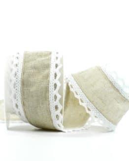 Juteband mit Spitze, braun m. weiß, 50 mm breit - vintage-baender, spitzenbaender, juteband, hochzeit
