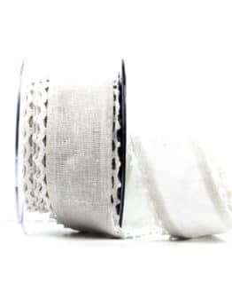 Juteband mit Spitze, weiß m. weiss, 50 mm breit - vintage-baender, spitzenbaender, juteband, hochzeit