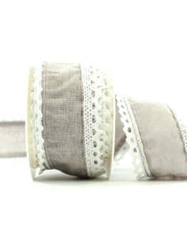 Juteband mit Spitze, grau m. weiss, 50 mm breit - vintage-baender, spitzenbaender, juteband, hochzeit