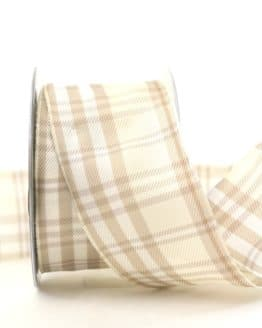 Kariertes Geschenkband creme, 60 mm breit - karoband, karierte-baender, geschenkband-kariert