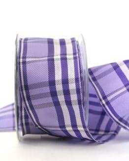 Kariertes Geschenkband flieder-lila, 60 mm breit - karoband, karierte-baender, geschenkband-kariert