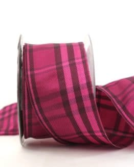 Kariertes Geschenkband pink-lila, 60 mm breit - karoband, karierte-baender, geschenkband-kariert