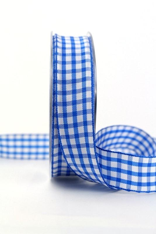 Karo-Geschenkband blau-weiß, 25 mm breit - karoband, karierte-baender, geschenkband-kariert, 50-rabatt