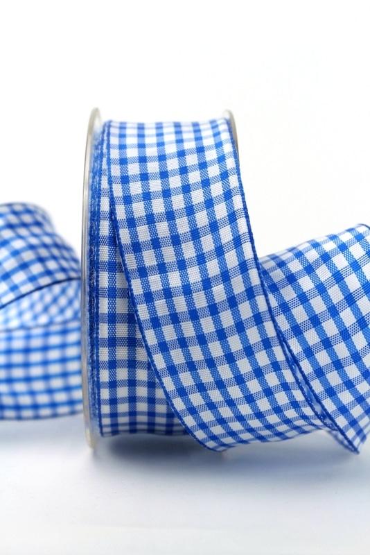 Karo-Geschenkband blau-weiß, 40 mm breit - karoband, karierte-baender, geschenkband-kariert, 50-rabatt