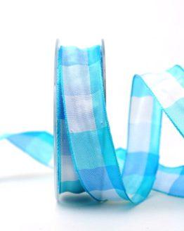 Karoband hellblau, 25 mm breit - karoband, karierte-baender, geschenkband-kariert, dekoband-mit-drahtkante-dekoband, 20-rabatt