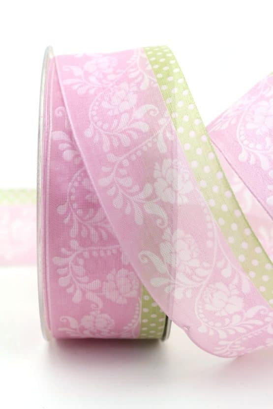 Leichtes Chiffonband mit Ornament, rosa, 40 mm mit Drahtkante - organzaband-mit-drahtkante, organzaband-gemustert, 20-rabatt