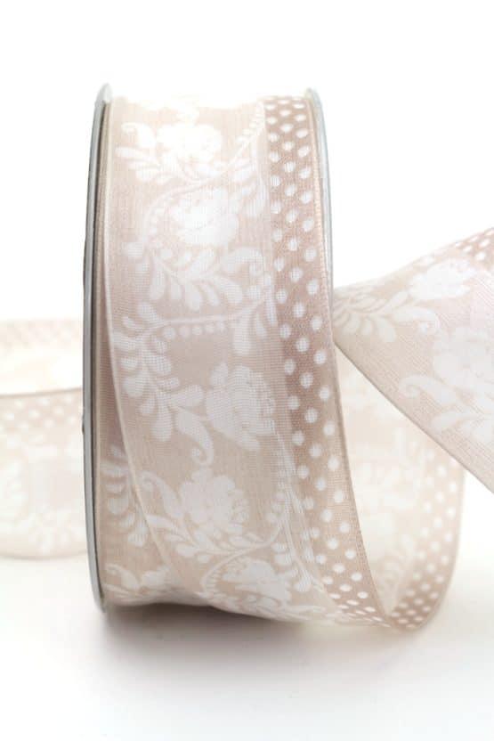 Leichtes Chiffonband mit Ornament, taupe, 40 mm mit Drahtkante - organzaband-mit-drahtkante, organzaband-gemustert, 20-rabatt