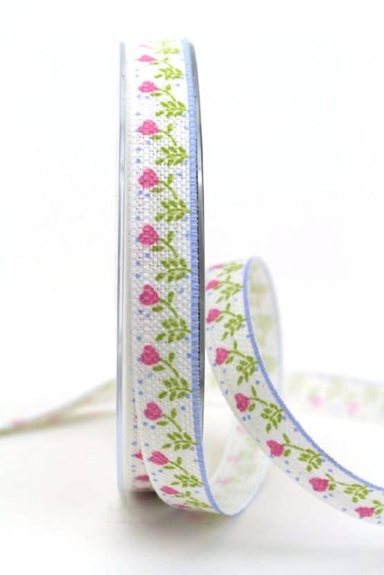 Leinenband mit rosa Blumen, 15 mm breit - geschenkband-gemustert, dekoband