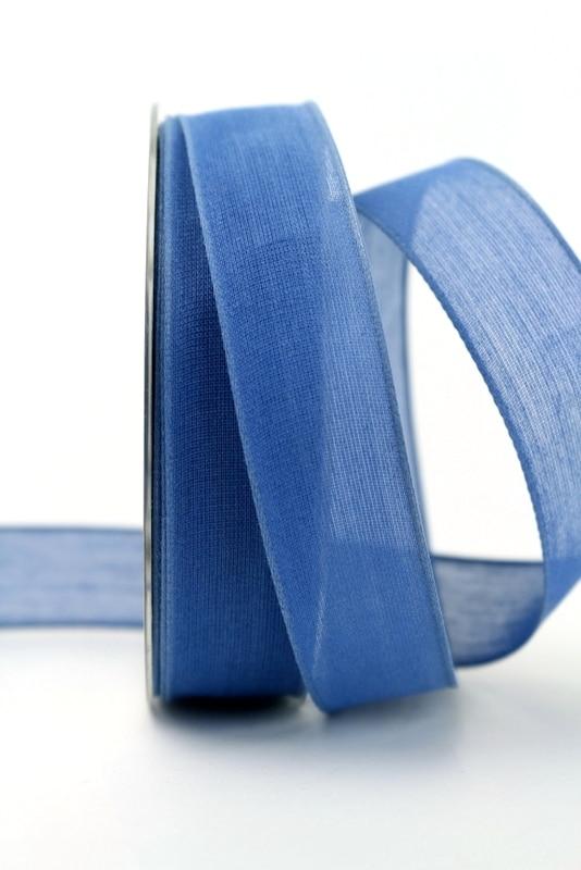 Leinenband jeansblau, 25 mm, mit Draht - dekoband-mit-drahtkante-dekoband