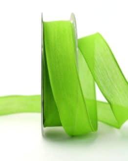 Leinenband hellgrün, 25 mm, mit Draht - dekoband-mit-drahtkante-dekoband