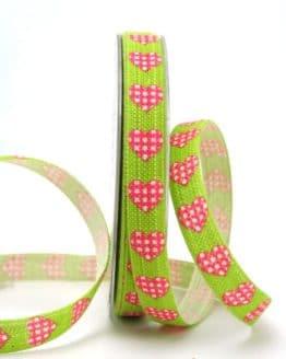 Leinenband grün mit Herzen, 15 mm breit - valentinstag, muttertag, 20-rabatt