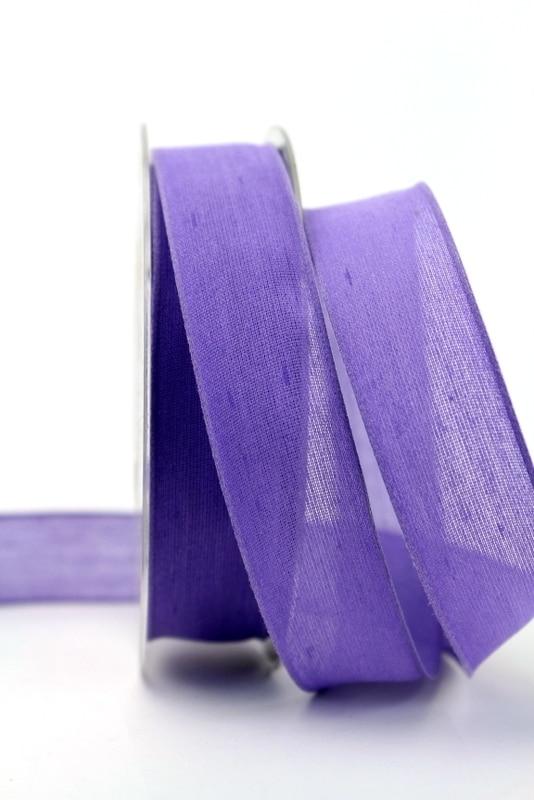 Leinenband lila, 25 mm, mit Draht - dekoband-mit-drahtkante-dekoband