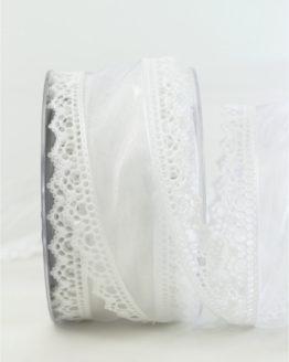 Luxuriöses Dekoband, weiß, 60 mm breit - weihnachtsband, geschenkband-weihnachten-einfarbig, geschenkband-weihnachten