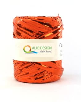 Metallraffia, orange metallic, 10 mm breit - raffia, polyband