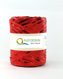 Metallraffia, rot metallic, 10 mm breit - raffia, polyband