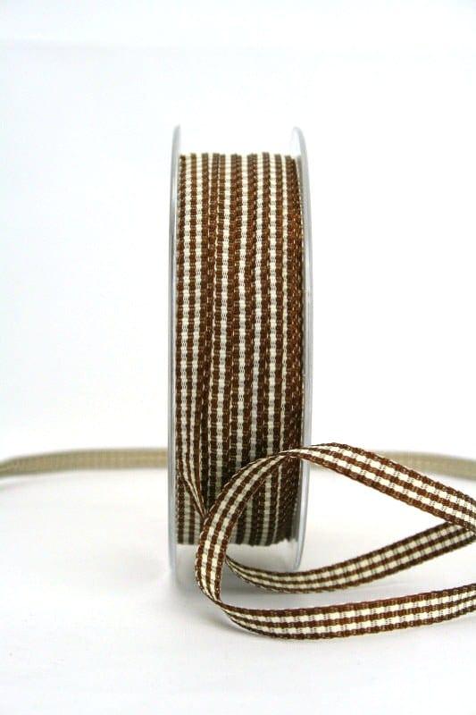 Vichy-Karoband braun, 6 mm breit - karoband, karierte-baender, geschenkband-kariert