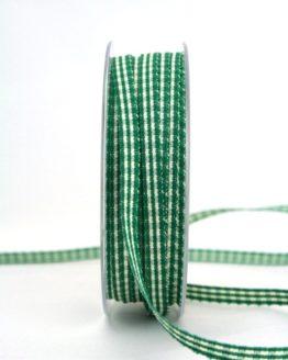 Vichy-Karoband dunkelgrün, 6 mm breit - karoband, karierte-baender, geschenkband-kariert