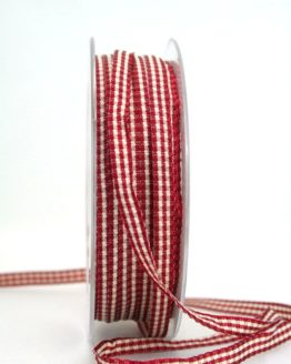 Vichy-Karoband dunkelrot, 6 mm breit - karoband, karierte-baender, geschenkband-kariert