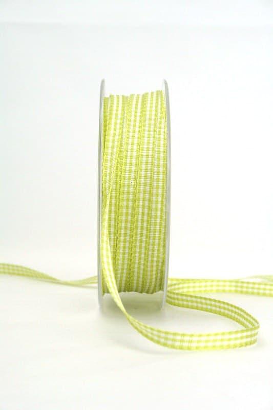 Vichy-Karoband hellgrün, 6 mm breit - karoband, karierte-baender, geschenkband-kariert
