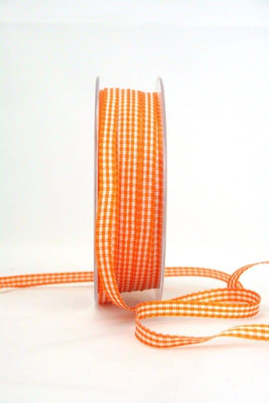 Vichy-Karoband orange, 6 mm breit - karoband, karierte-baender, geschenkband-kariert