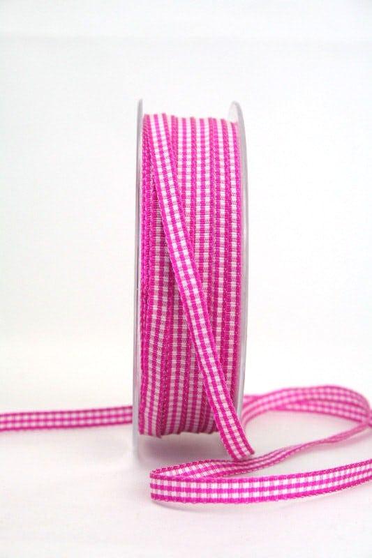 Vichy-Karoband pink, 6 mm breit - karoband, karierte-baender, geschenkband-kariert