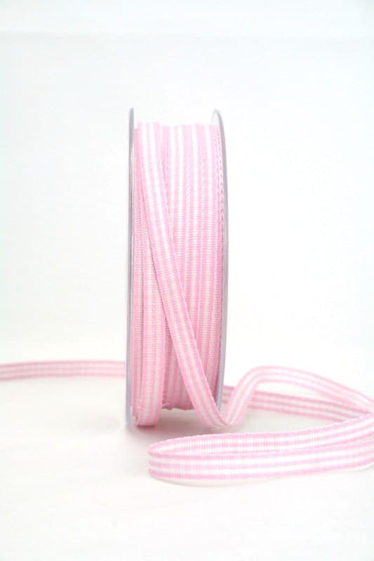 Vichy-Karoband rosa, 6 mm breit - karoband, karierte-baender, geschenkband-kariert
