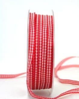 Vichy-Karoband rot, 6 mm breit - valentinstag, muttertag, karoband, karierte-baender, geschenkband-kariert