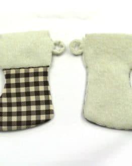 Nikolausstiefel aus Filz, braun-kariert, 52 mm, 24 Stück - geschenkanhaenger, accessoires
