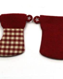 Nikolausstiefel aus Filz, dunkelrot-kariert, 52 mm, 24 Stück - geschenkanhaenger, accessoires