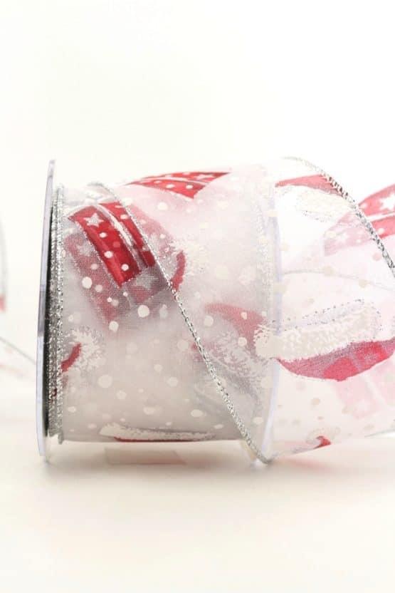 Chiffonband Santa's Mütze, weiß, 60 mm mit Drahtkante - weihnachtsband, organzaband-weihnachten, organzaband-mit-drahtkante, organzaband-gemustert, geschenkband-weihnachten