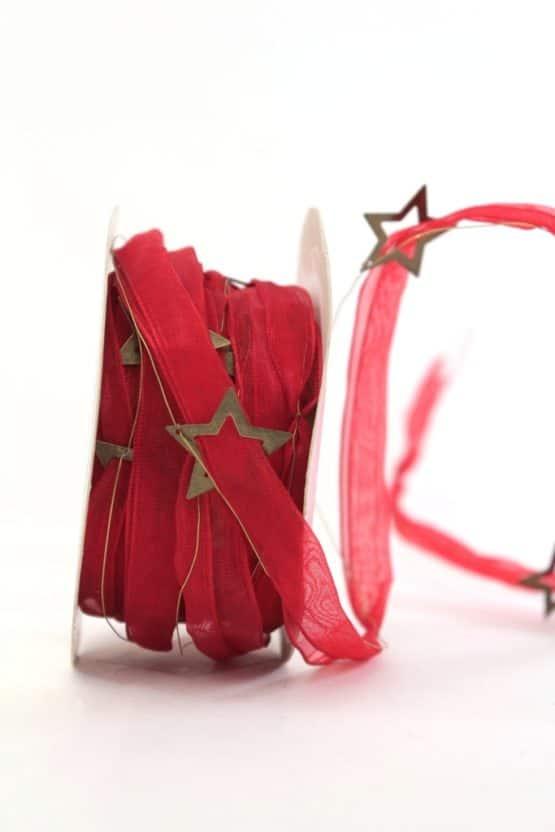 Organzaband mit Metall-Sternen, rot - weihnachtsband, organzaband-weihnachten, geschenkband-weihnachten, 20-rabatt