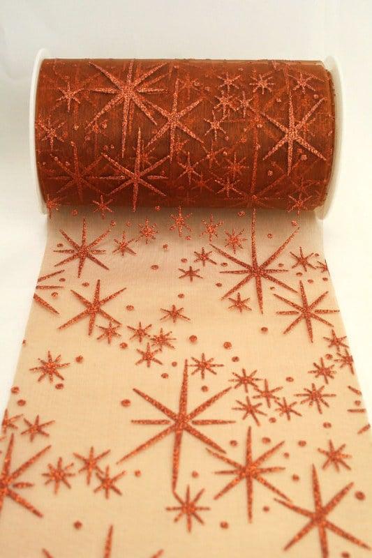 Organza-Tischband mit glitzernden Sternen, kupfer, 125 mm breit - weihnachtsband, organzaband-weihnachten, geschenkband-weihnachten