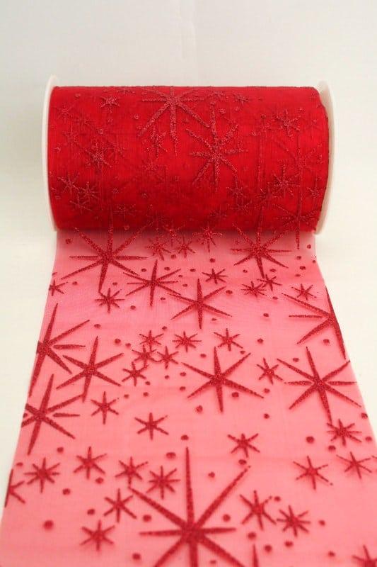 Organza-Tischband mit glitzernden Sternen, rot, 125 mm breit - weihnachtsband, organzaband-weihnachten, geschenkband-weihnachten