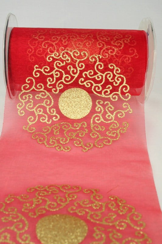 Organza-Tischband mit goldenem Ornament, rot, 150 mm - weihnachtsband, organzaband-weihnachten, geschenkband-weihnachten