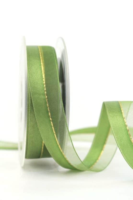 Organzaband m. Satinstreifen apfelgrün, 25 mm - weihnachtsband, organzaband-weihnachten, organzaband-einfarbig, geschenkband-weihnachten