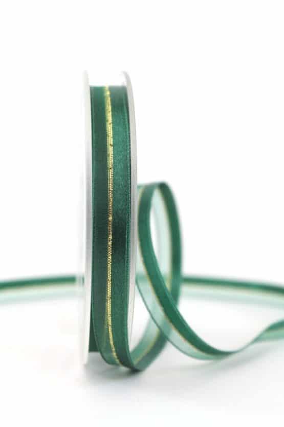 Organzaband m. Satinstreifen dunkelgrün , 10 mm - weihnachtsband, organzaband-weihnachten, organzaband-einfarbig, geschenkband-weihnachten