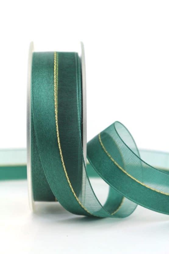 Organzaband m. Satinstreifen dunkelgrün, 25 mm - weihnachtsband, organzaband-weihnachten, organzaband-einfarbig, geschenkband-weihnachten