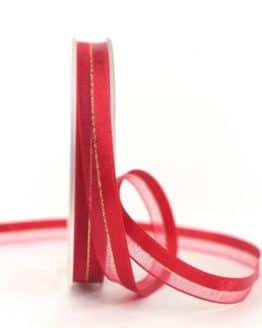 Organzaband m. Satinstreifen rot , 10 mm - weihnachtsband, organzaband-weihnachten, organzaband-einfarbig, geschenkband-weihnachten