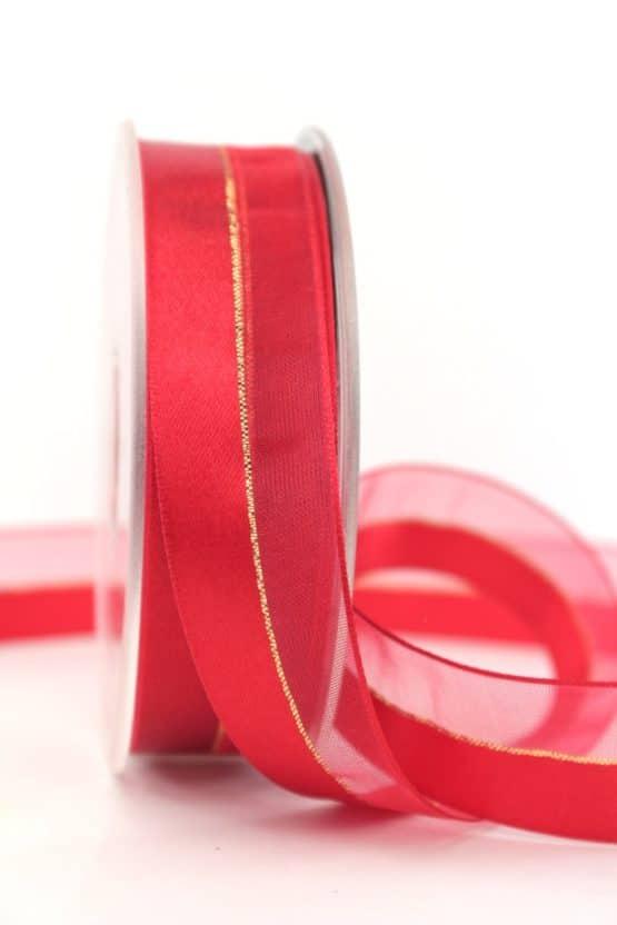 Organzaband m. Satinstreifen rot, 25 mm - weihnachtsband, organzaband-weihnachten, organzaband-einfarbig, geschenkband-weihnachten