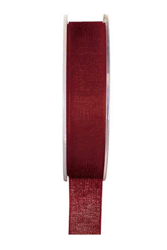 Organzaband BUDGET bordeaux, 7 mm x 20 m Rolle - organzaband-einfarbig