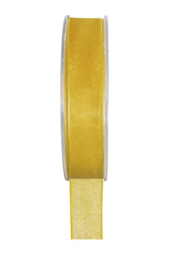 Organzaband BUDGET gelb, 7 mm x 20 m Rolle - organzaband-einfarbig