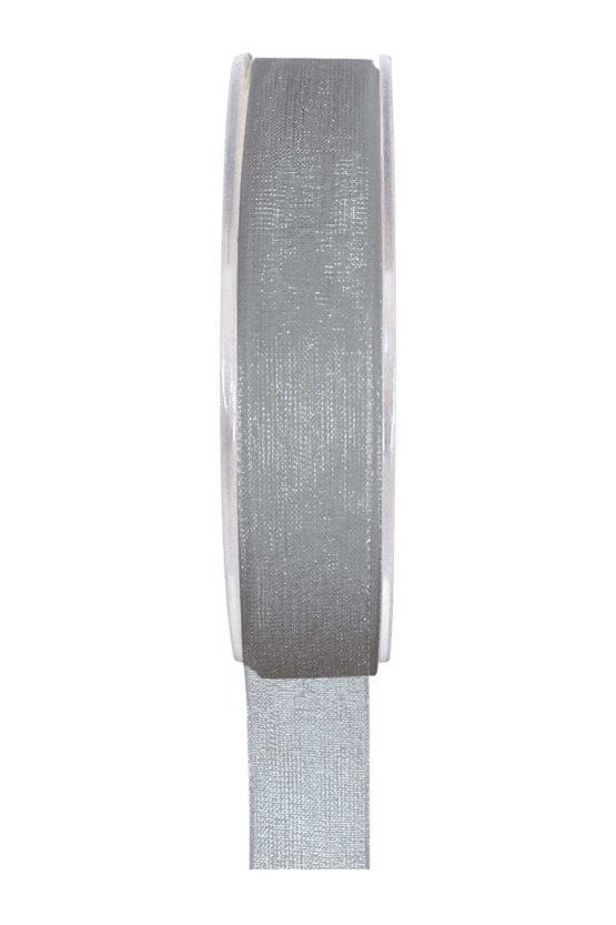 Organzaband BUDGET grau, 7 mm x 20 m Rolle - organzaband-einfarbig
