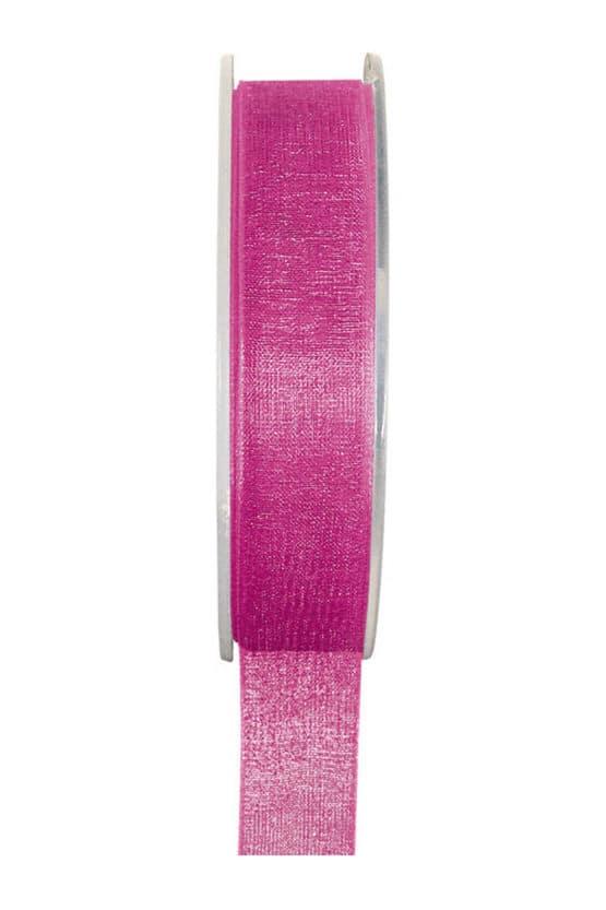 Organzaband BUDGET pink, 7 mm x 20 m Rolle - organzaband-einfarbig
