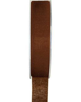 Organzaband BUDGET braun, 7 mm x 20 m Rolle - organzaband-einfarbig