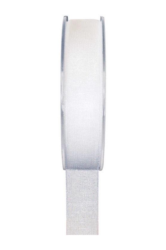 Organzaband BUDGET weiß, 7 mm x 20 m Rolle - organzaband-einfarbig