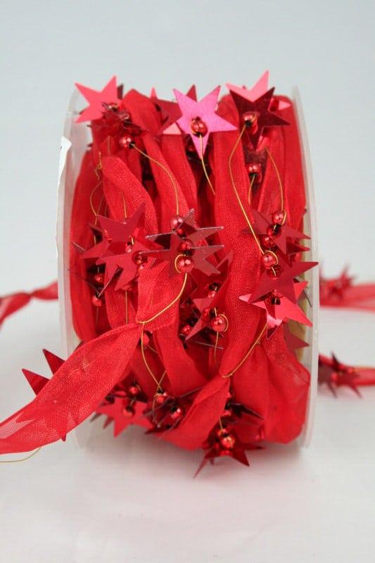 Organzaband-Girlande mit Sternen, rot - weihnachtsband, organzaband-weihnachten, geschenkband-weihnachten, 30-rabatt