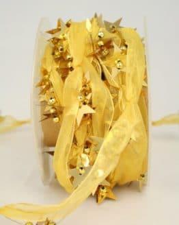 Organzaband-Girlande mit Sternen, gold - weihnachtsband, organzaband-weihnachten, geschenkband-weihnachten, 30-rabatt