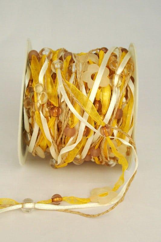 Organzaband-Girlande mit Acryl-Blüten, gelb-braun - sonderangebot, organzaband-gemustert