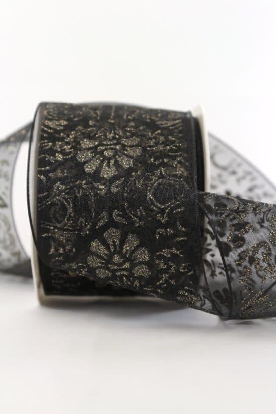Organzaband Glitzer-Ornament, schwarz, 70 mm mit Drahtkante - weihnachtsband, organzaband-weihnachten, geschenkband-weihnachten, 30-rabatt